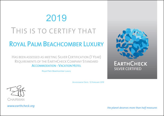 EarthCheck Silver Certification: Royal Palm Beachcomber Luxury asserts its leadership in eco-friendly practices