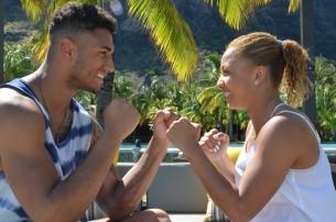France's golden couple at Dinarobin