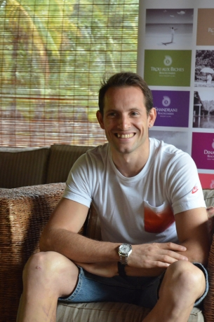 The French pole vault star, Renaud Lavillenie, on holiday at Dinarobin Beachcomber